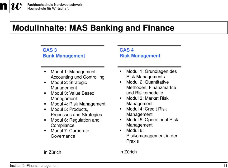 Corporate Governance in Zürich Modul 1: Grundlagen des Risk Managements Modul 2: Quantitative Methoden, Finanzmärkte und Risikomodelle Modul 3: Market Risk
