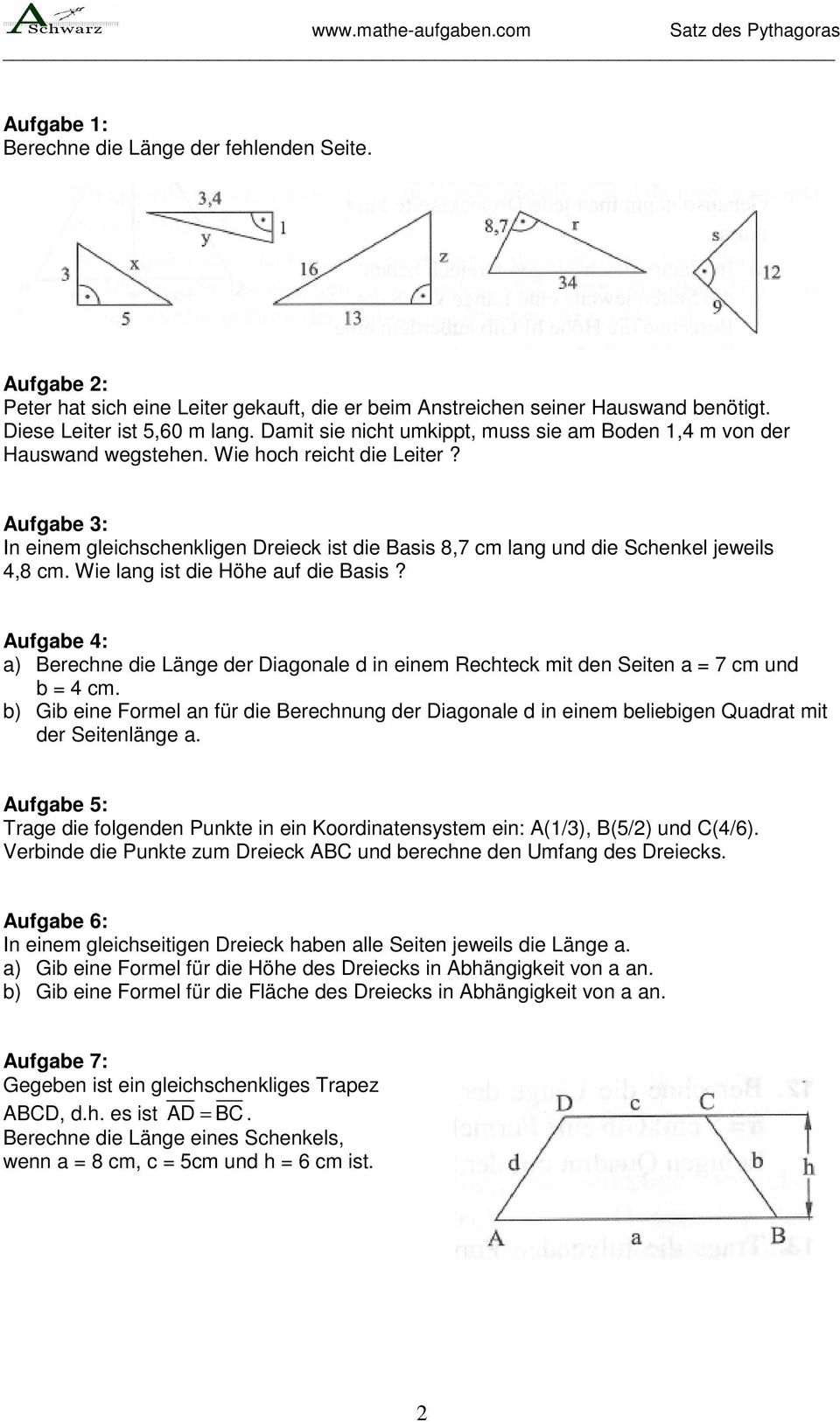 satz des pythagoras realschule gymnasium klasse 9 pdf. Black Bedroom Furniture Sets. Home Design Ideas