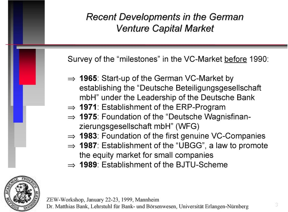 1975: Foundation of the Deutsche Wagnisfinanzierungsgesellschaft mbh (WFG) 1983: Foundation of the first genuine