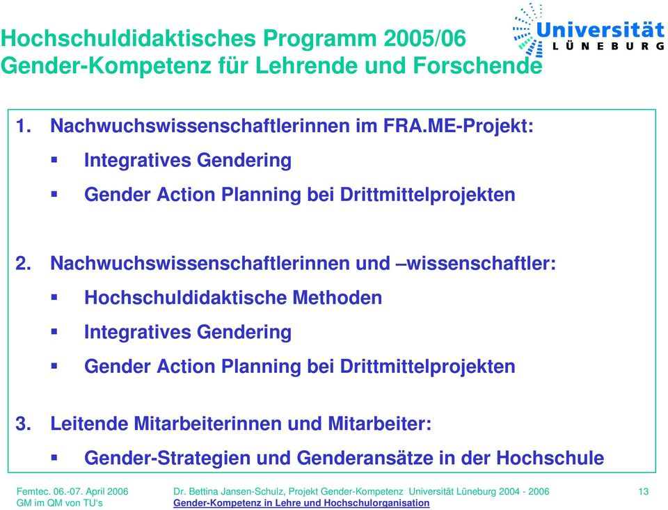 ME-Projekt: Integratives Gendering Gender Action Planning bei Drittmittelprojekten 2.