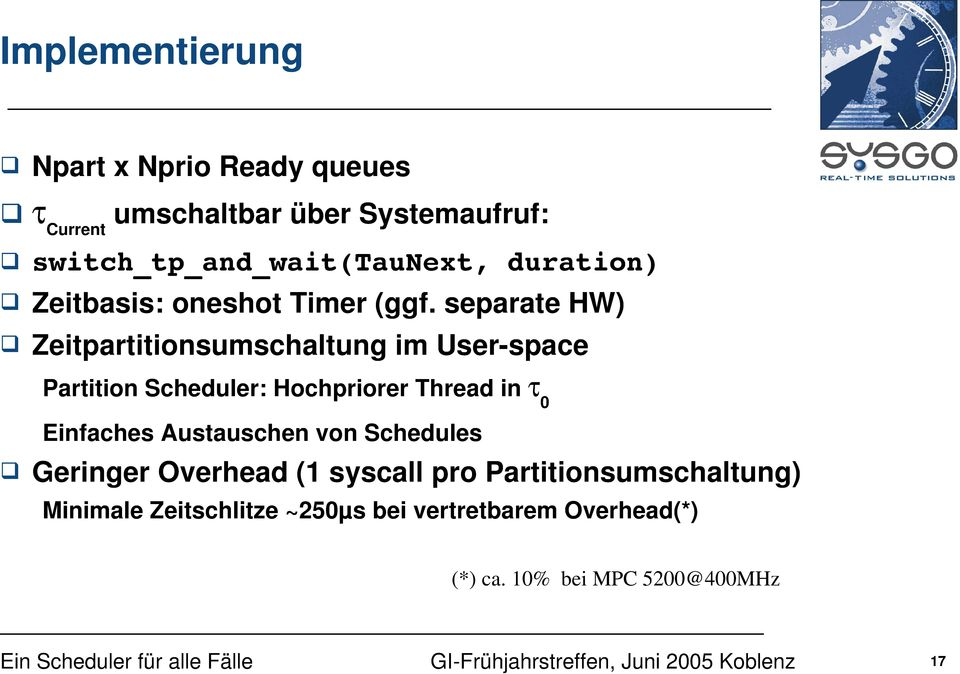 separate HW) Zeitpartitionsumschaltung im User-space Partition Scheduler: Hochpriorer Thread in 0 Einfaches