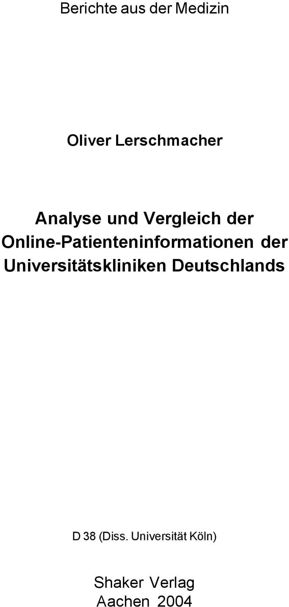 Online-Patienteninformationen der