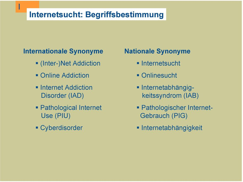 Internet Use (PIU) Cyberdisorder Nationale Synonyme Internetsucht Onlinesucht