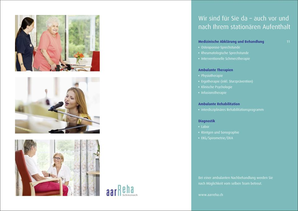 Sturzprävention) b Klinische Psychologie b Infusionstherapie Ambulante Rehabilitation b interdisziplinäres Rehabilitationsprogramm