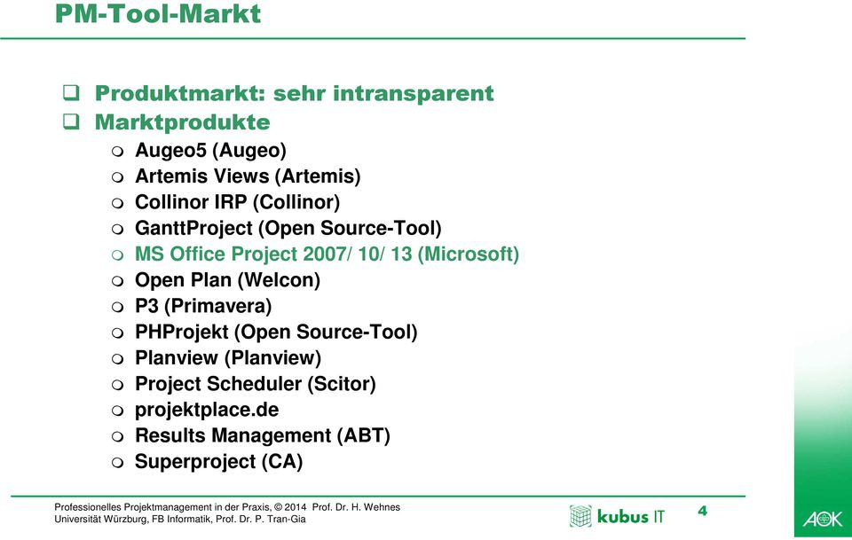 10/ 13 (Microsoft) Open Plan (Welcon) P3 (Primavera) PHProjekt (Open Source-Tool) Planview