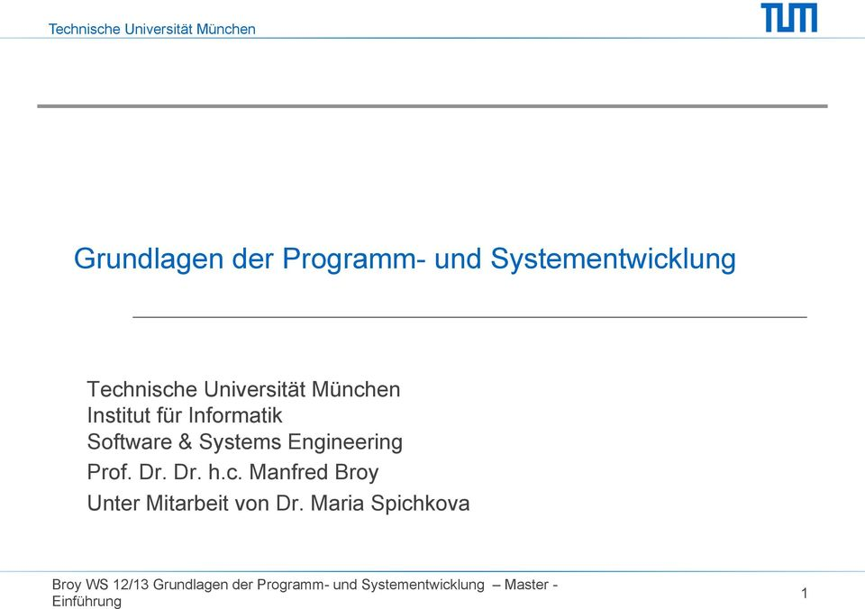 Informatik Software & Systems Engineering Prof. Dr.