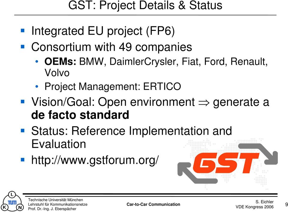 Management: ERTICO Vision/Goal: Open environment generate a de facto