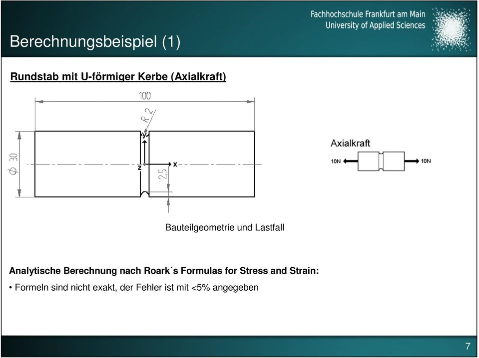 Berechnung nach Roark s Formulas for Stress and Strain: