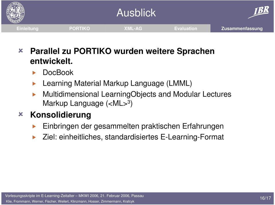 LearningObjects and Modular Lectures Markup Language (<ML> 3 ) Konsolidierung