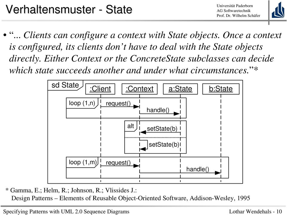Either Context or the ConcreteState subclasses can decide which state succeeds another and under what circumstances.