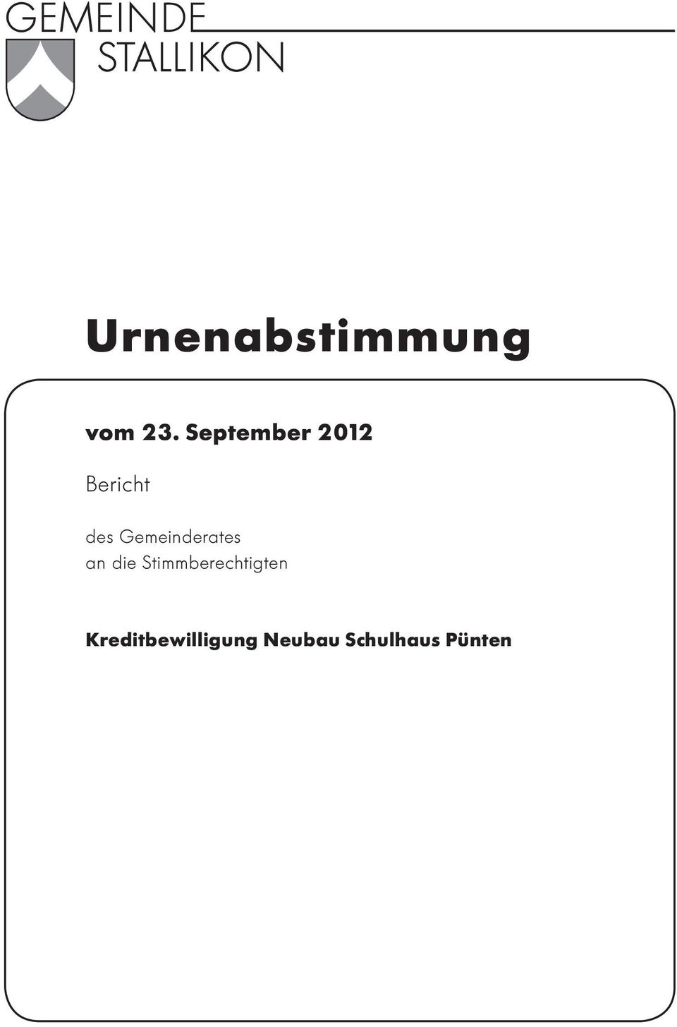 September 2012 Bericht des