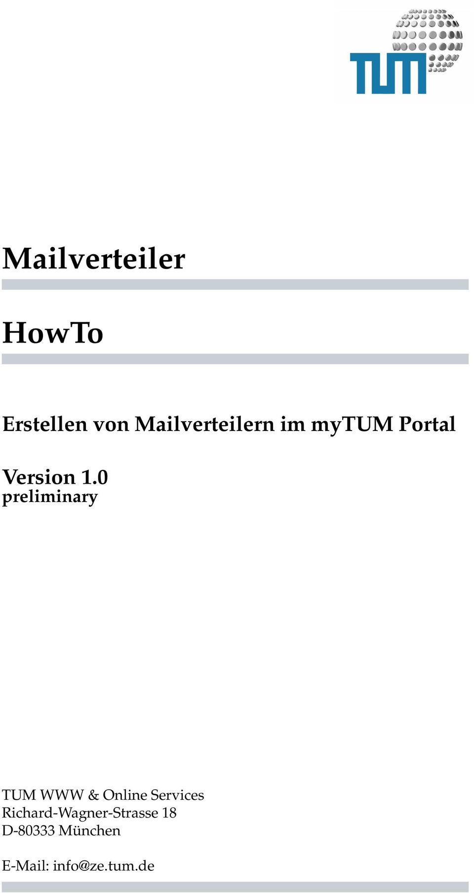 0 preliminary TUM WWW & Online Services