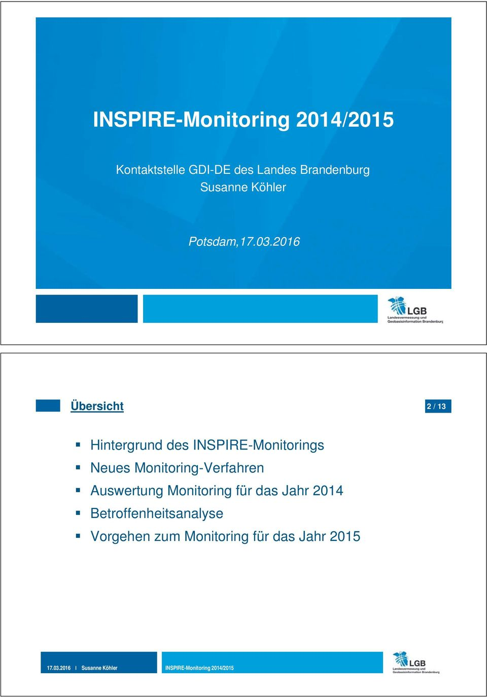 INSPIRE-Monitorings Neues Monitoring-Verfahren Auswertung Monitoring