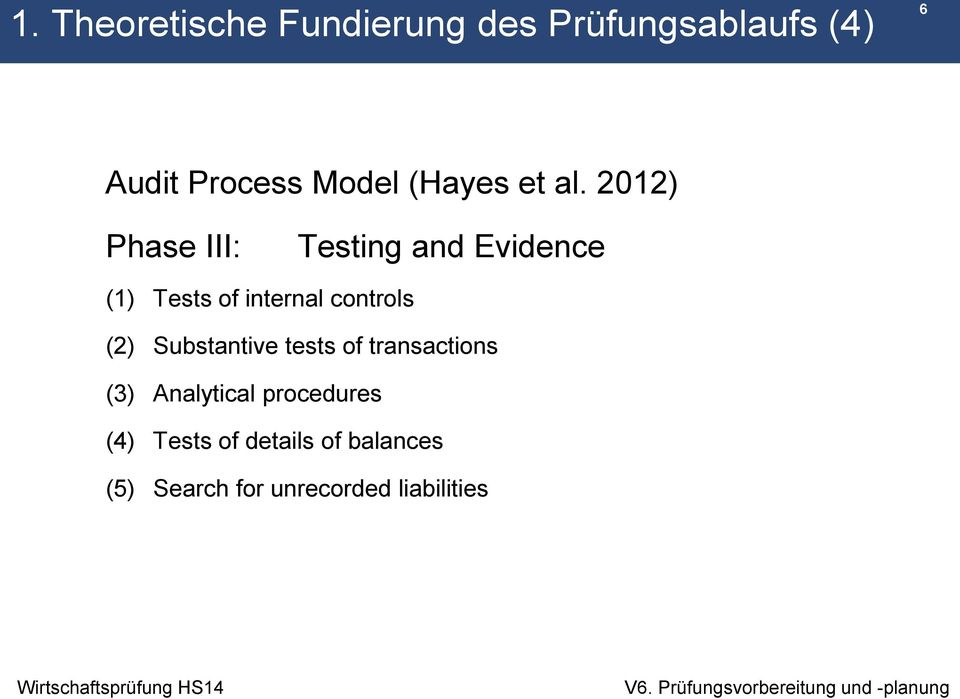 2012) Phase III: Testing and Evidence (1) Tests of internal controls (2)