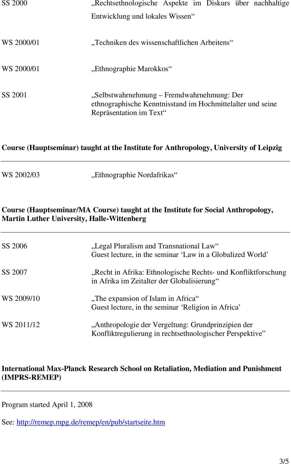 Nordafrikas Course (Hauptseminar/MA Course) taught at the Institute for Social Anthropology, Martin Luther University, Halle-Wittenberg SS 2006 SS 2007 WS 2009/10 WS 2011/12 Legal Pluralism and