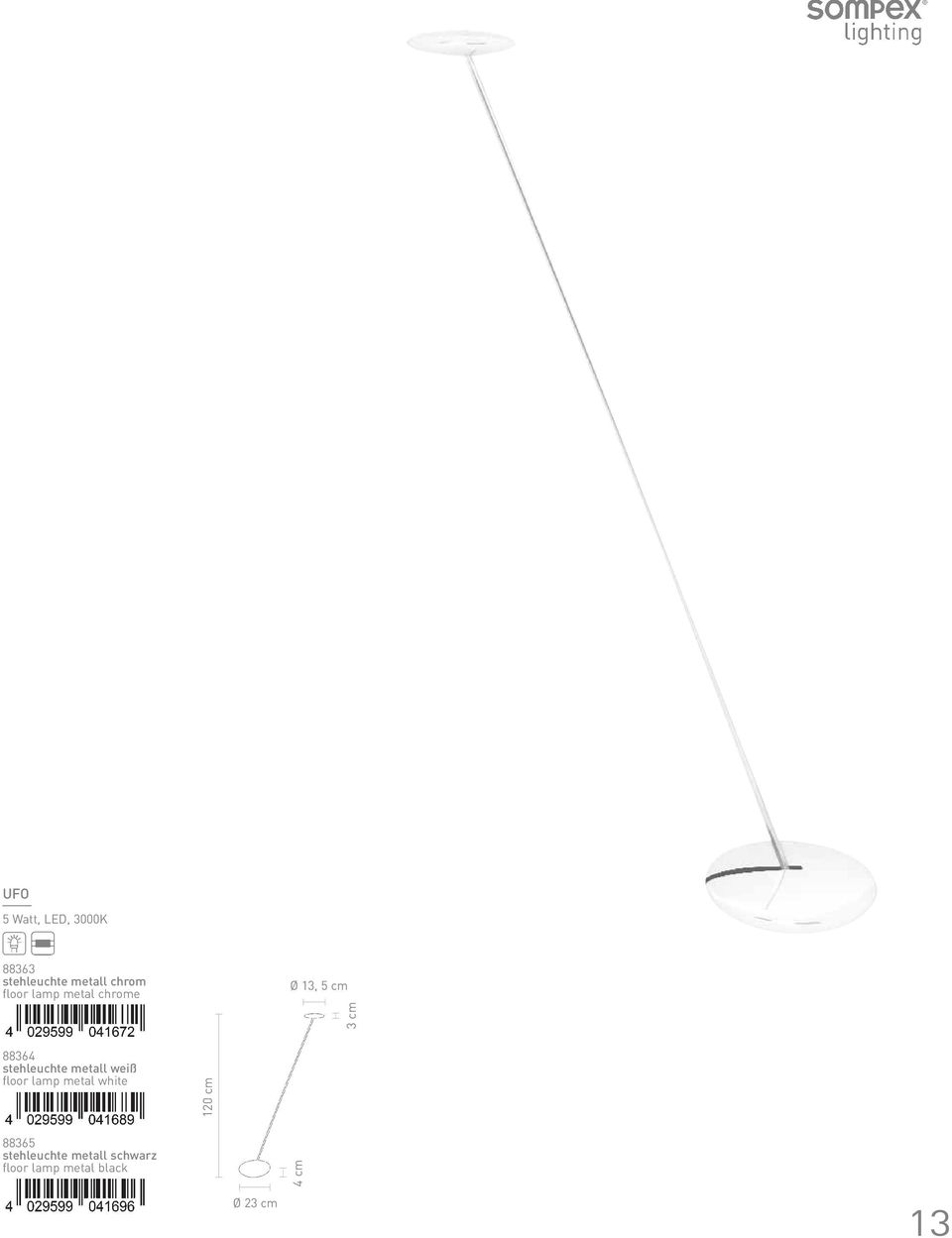 stehleuchte metall weiß floor lamp metal white 120 cm