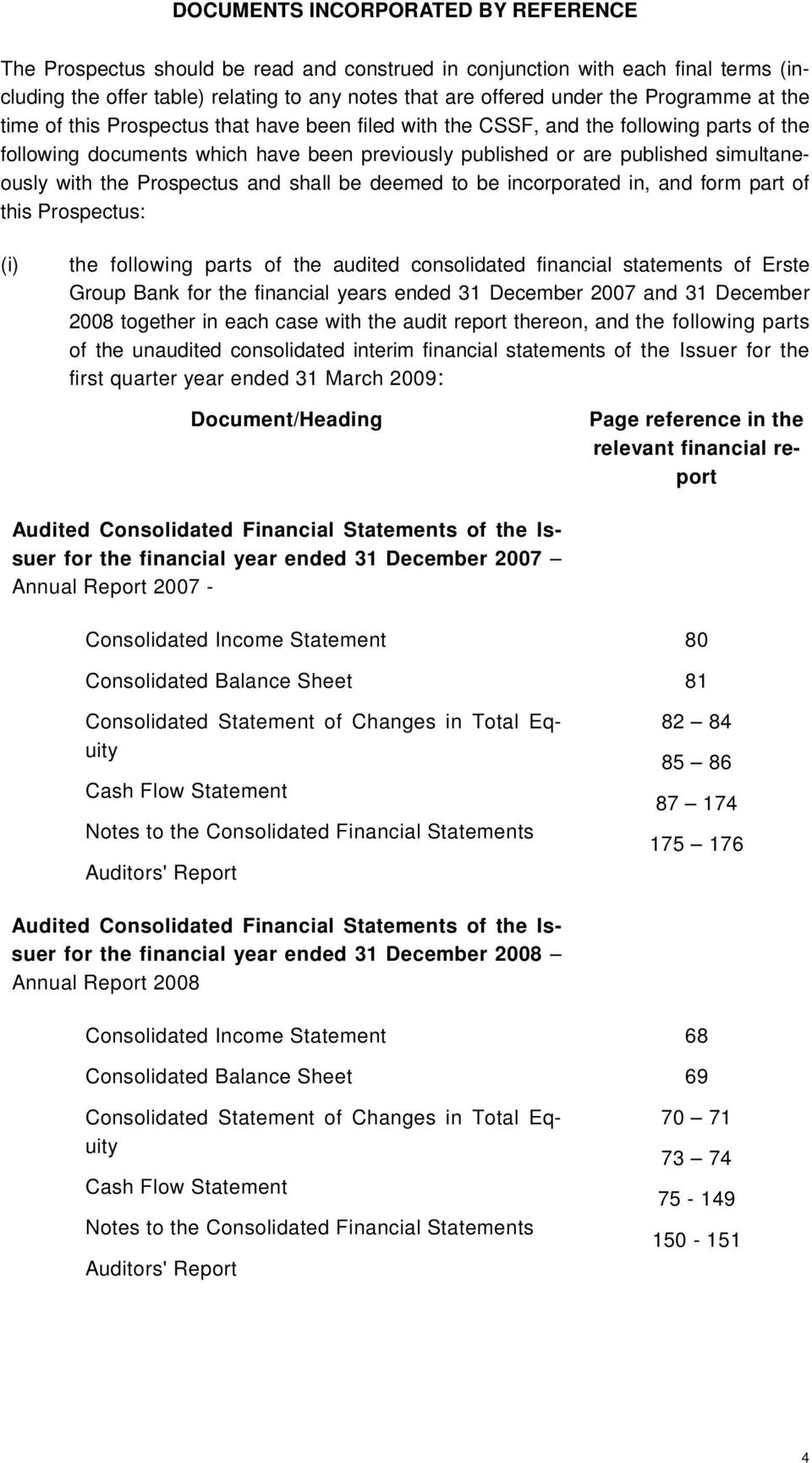 with the Prospectus and shall be deemed to be incorporated in, and form part of this Prospectus: (i) the following parts of the audited consolidated financial statements of Erste Group Bank for the