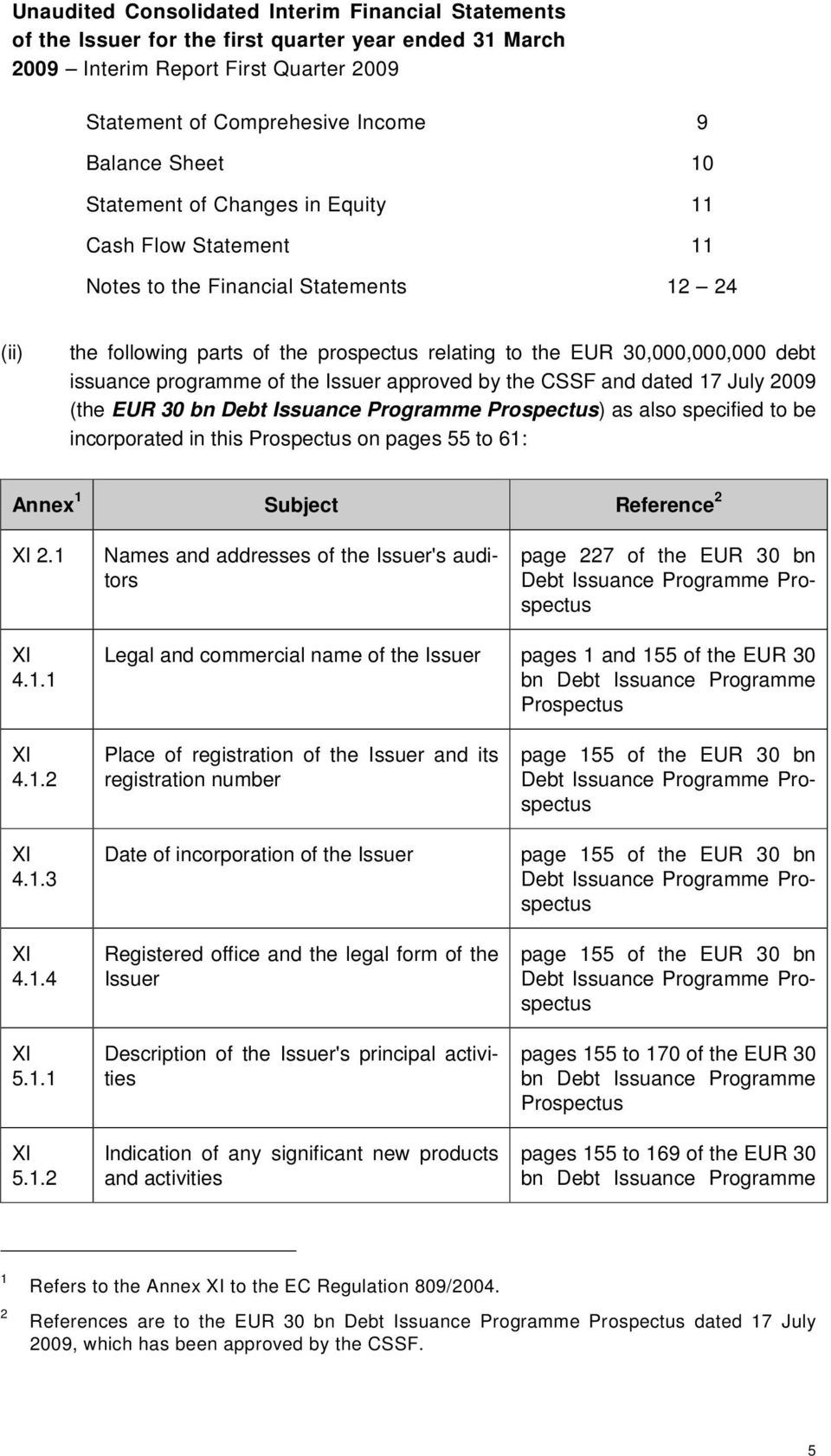 programme of the Issuer approved by the CSSF and dated 17 July 2009 (the EUR 30 bn Debt Issuance Programme Prospectus) as also specified to be incorporated in this Prospectus on pages 55 to 61: Annex