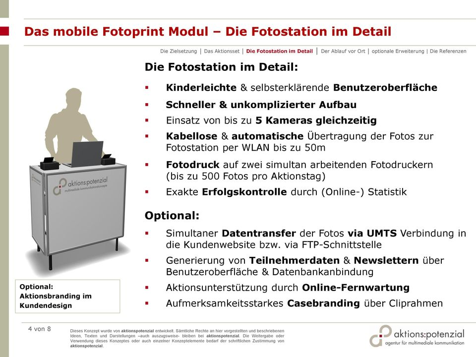 Erfolgskontrolle durch (Online-) Statistik Optional: Aktionsbranding im Kundendesign Optional: Simultaner Datentransfer der Fotos via UMTS Verbindung in die Kundenwebsite bzw.