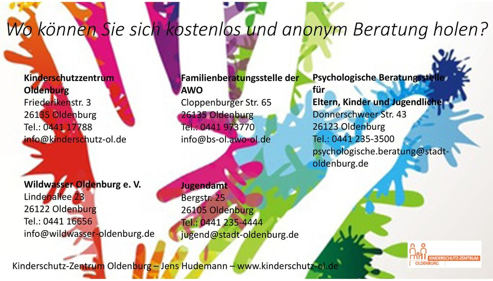 65 26135 Oldenburg Tel.: 0441 973770 info@bs-ol.awo-ol.de Jugendamt Bergstr. 25 26105 Oldenburg Tel.: 0441 235-4444 jugend@stadt-oldenburg.