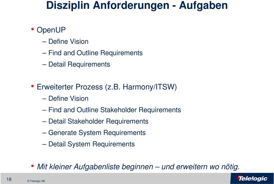 Harmony/ITSW) Define Vision Find and Outline Stakeholder Requirements Detail