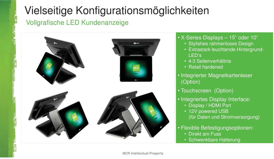 Integrierter Magnetkartenleser (Option) Touchscreen (Option) Integriertes Display Interface: Display / HDMI