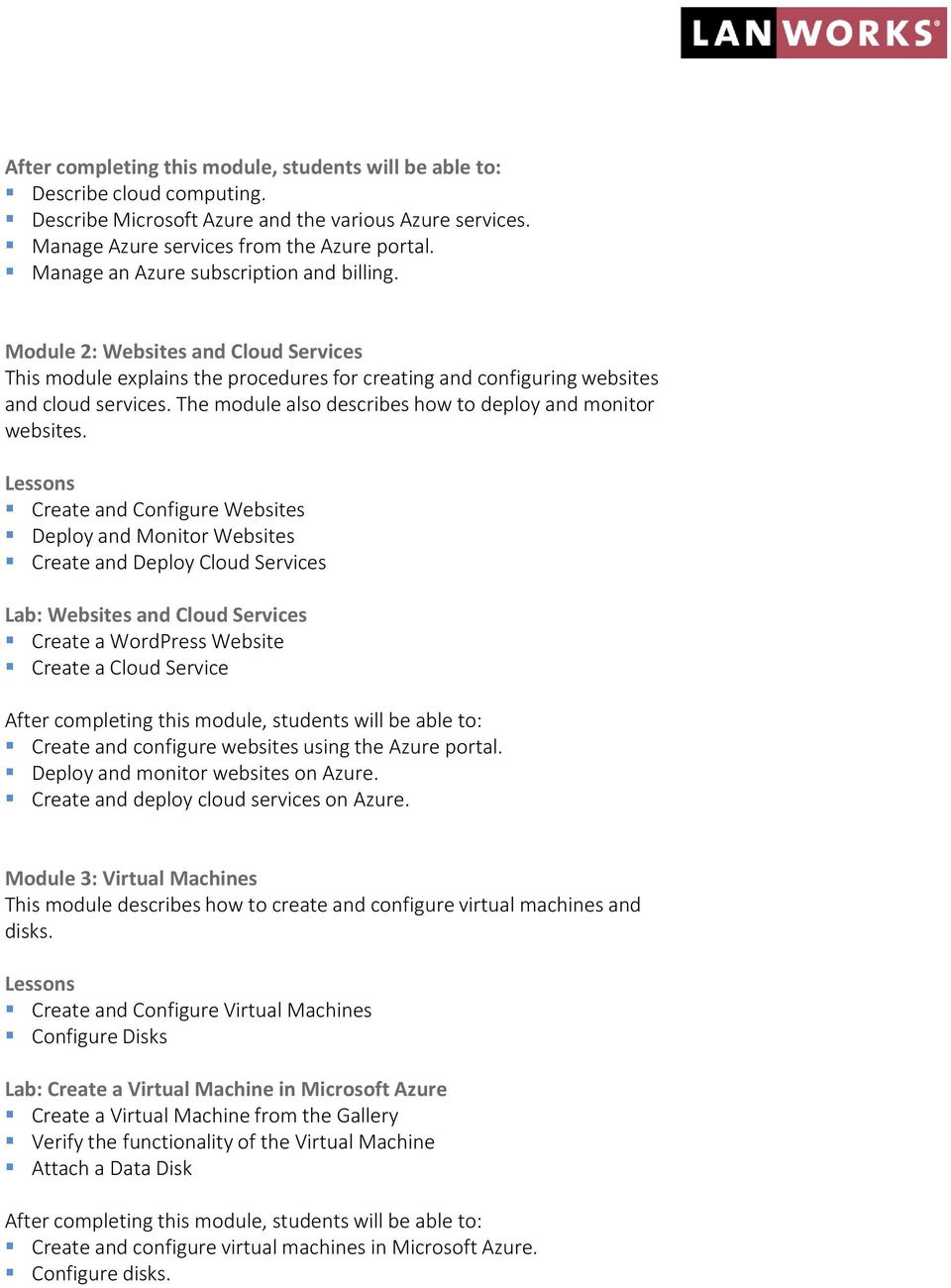 Create and Configure Websites Deploy and Monitor Websites Create and Deploy Cloud Services Lab: Websites and Cloud Services Create a WordPress Website Create a Cloud Service Create and configure