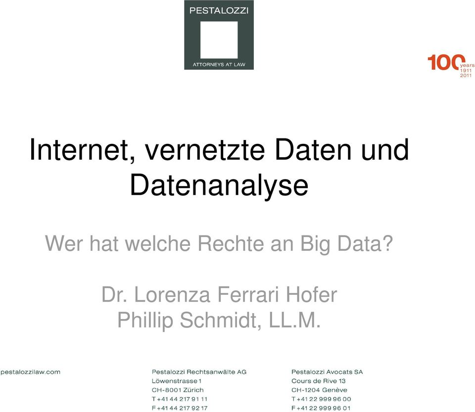 Rechte an Big Data? Dr.