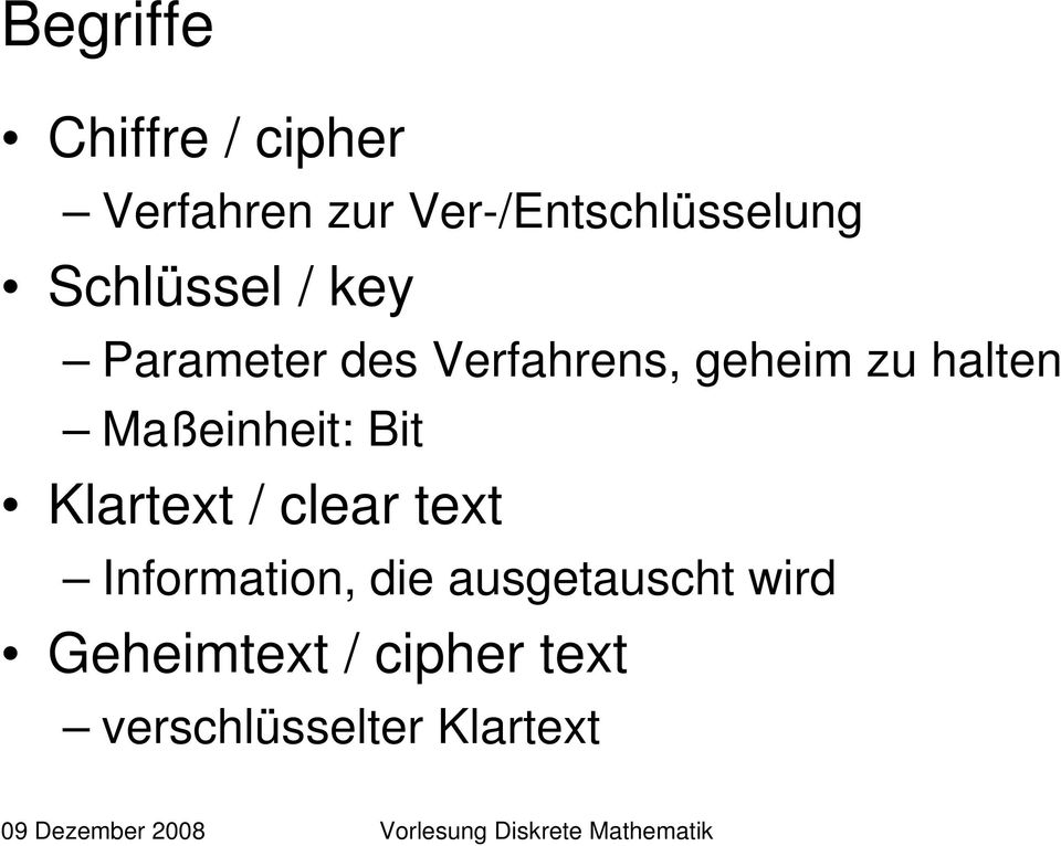 Maßeinheit: Bit Klartext / clear text Information, die