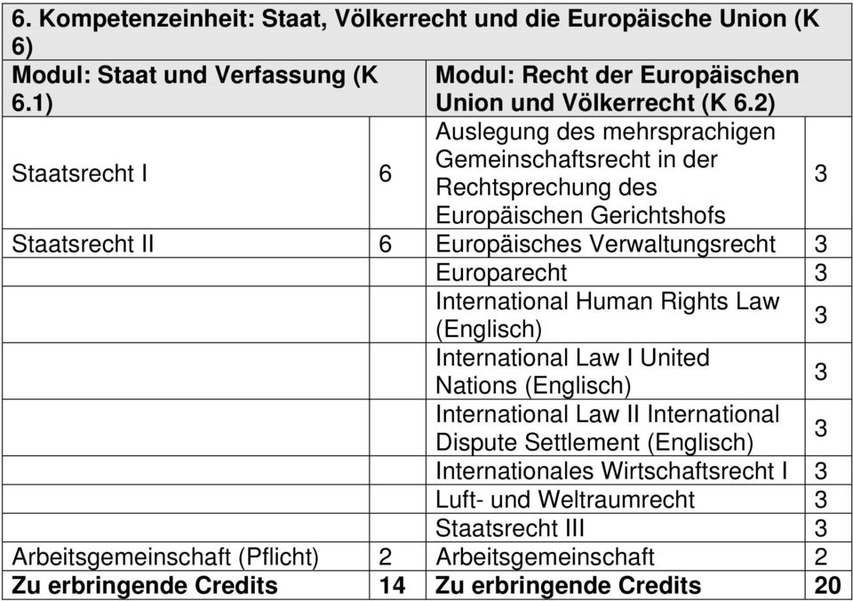 Europarecht International Human Rights Law (Englisch) International Law I United Nations (Englisch) International Law II International Dispute Settlement (Englisch)