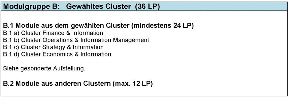 1 a) Cluster Finance & Information B.