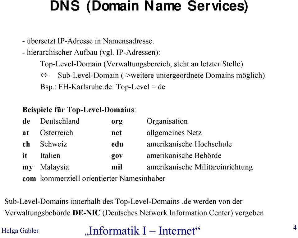 de: Top-Level = de Beispiele für Top-Level-Domains: de Deutschland org Organisation at Österreich net allgemeines Netz ch Schweiz edu amerikanische Hochschule it Italien