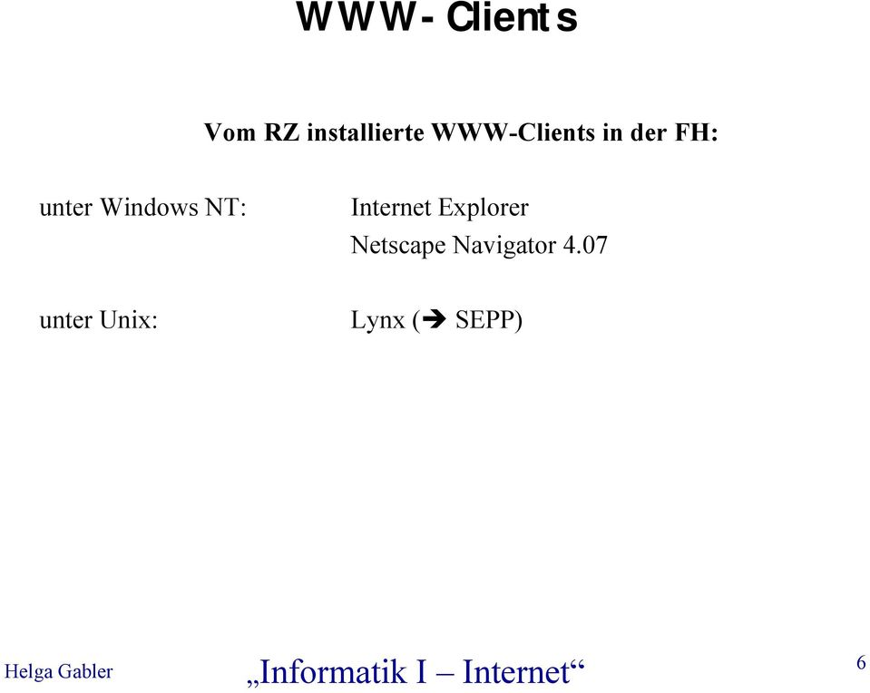 Windows NT: Internet Explorer