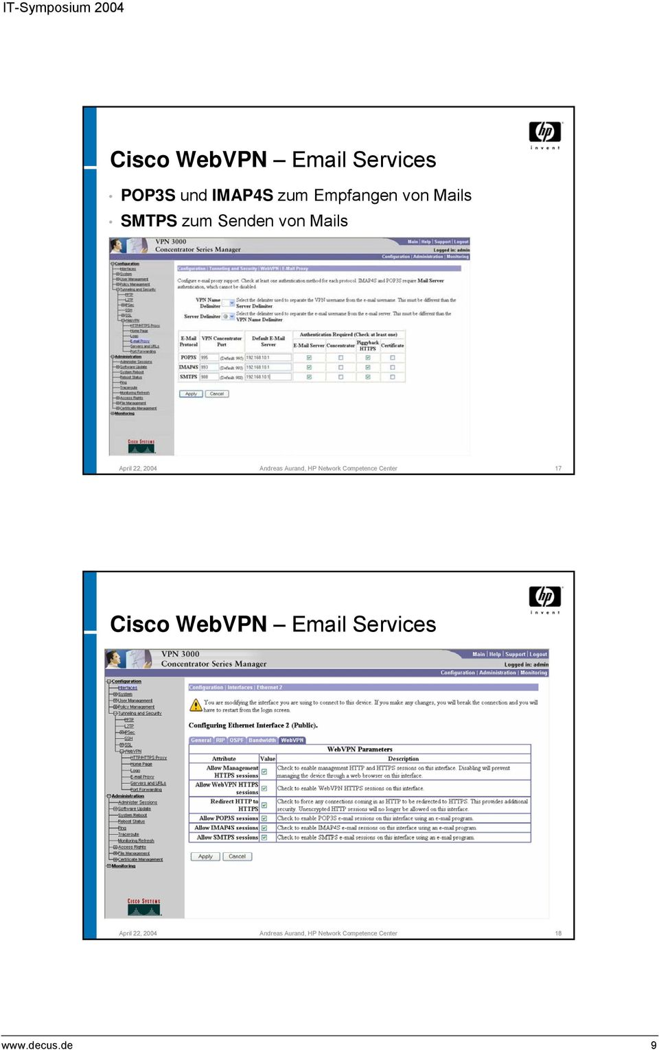Aurand, HP Network Competence Center 17 Cisco WebVPN Email
