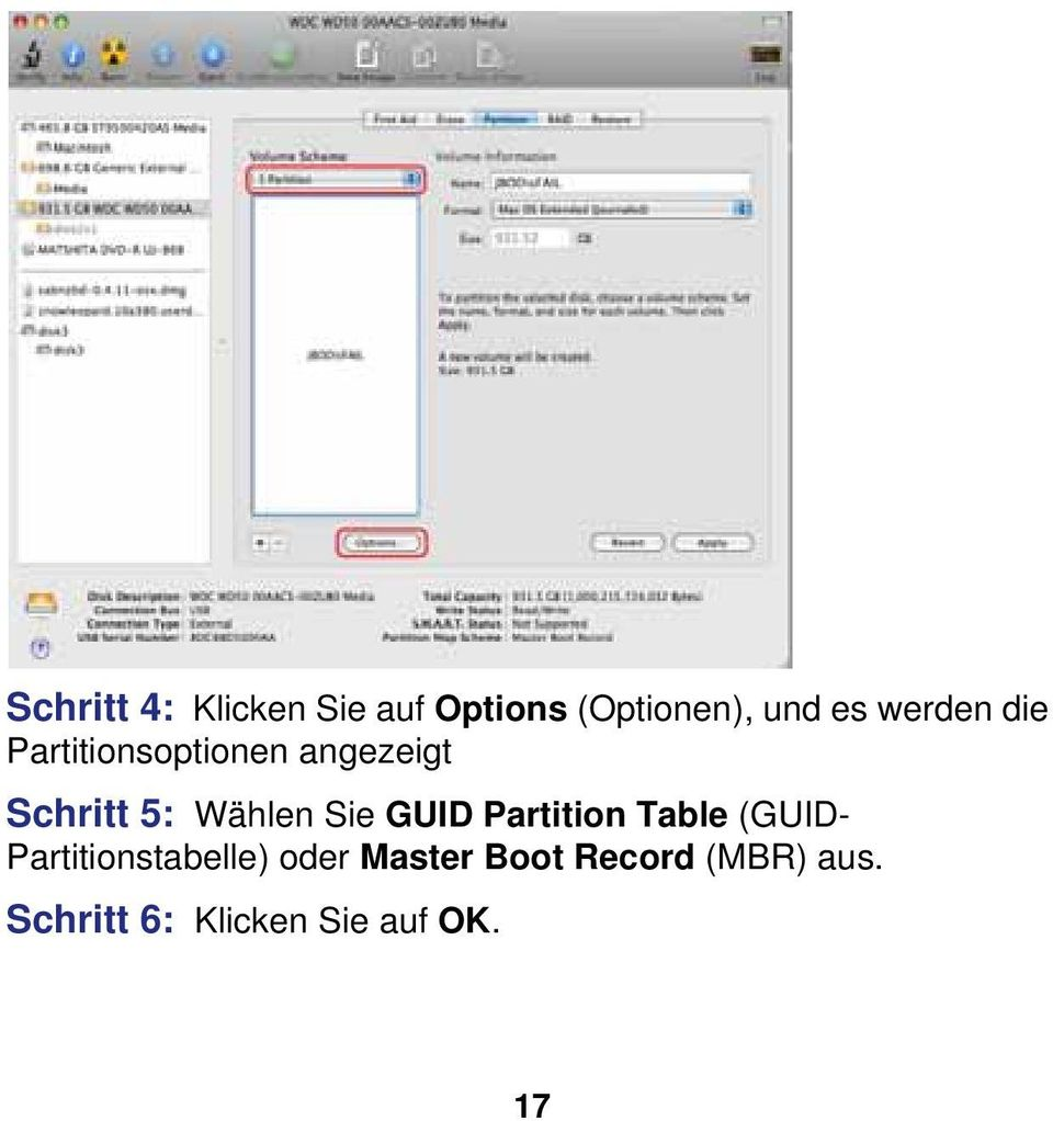 Sie GUID Partition Table (GUID- Partitionstabelle) oder