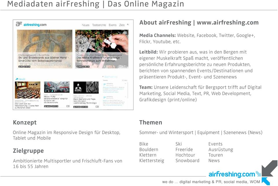 präsentieren Produkt-, Event- und Szenenews Team: Unsere Leidenschaft für Bergsport trifft auf Digital Marketing, Social Media, Text, PR, Web Development, Grafikdesign (print/online) Konzept Online