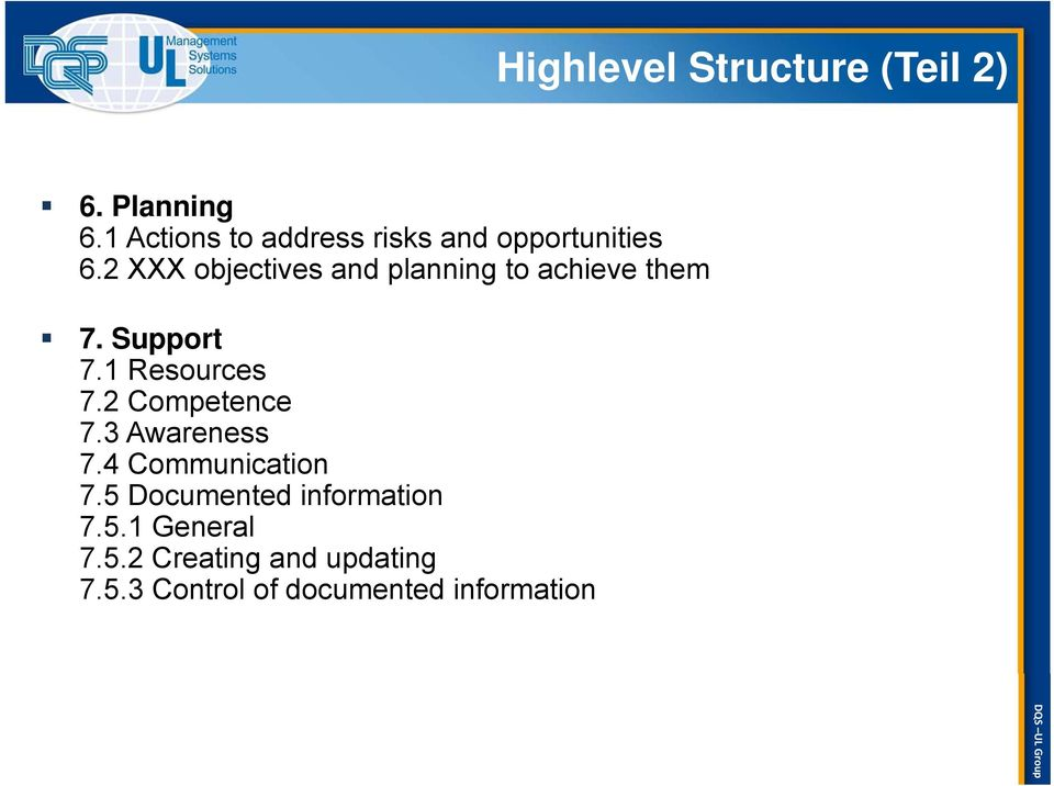 2 XXX objectives and planning to achieve them 7. Support 7.1 Resources 7.