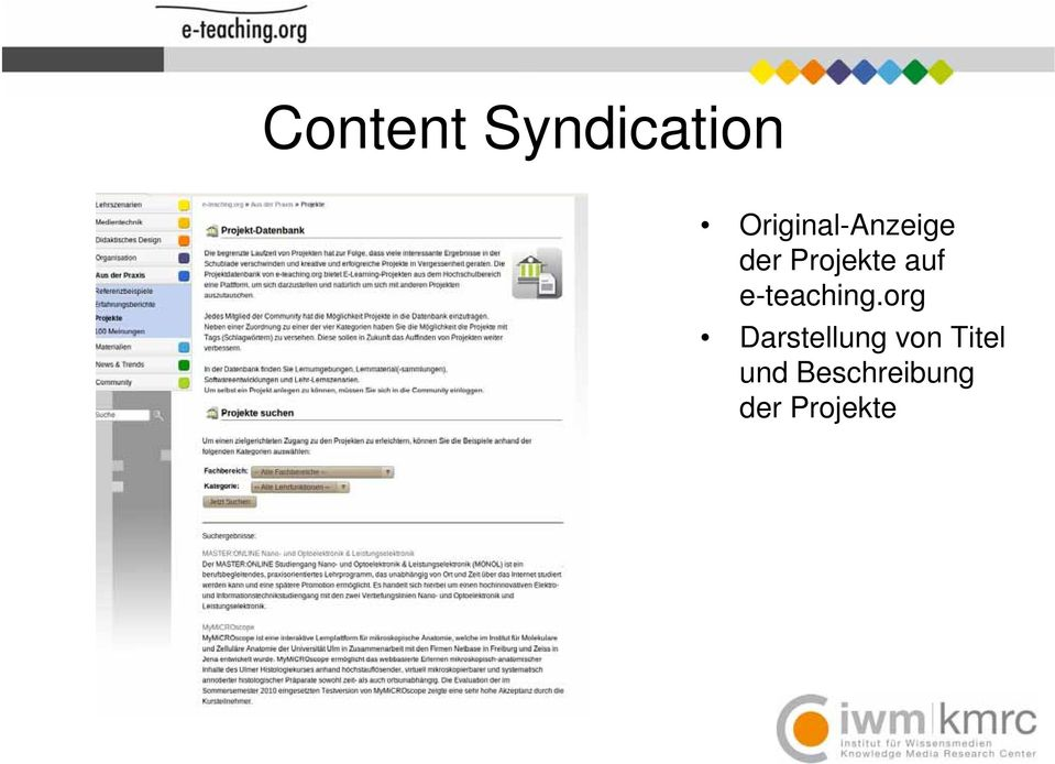 Projekte auf e-teaching.