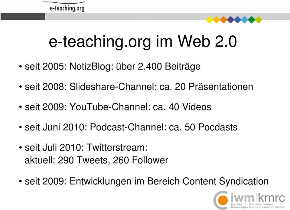 20 Präsentationen seit 2009: YouTube-Channel: ca.