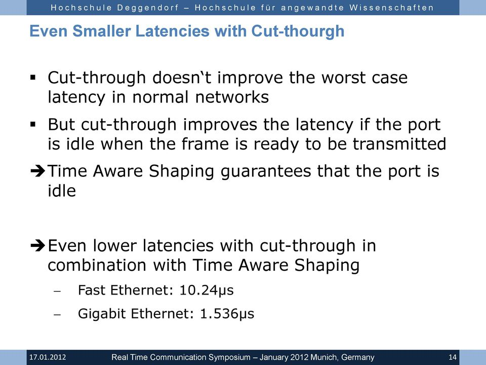 to be transmitted Time Aware Shaping guarantees that the port is idle Even lower latencies with