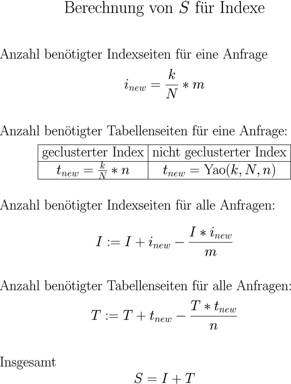 N n t new = Yao(k; N; n) Anzahl benotigter Indexseiten fur alle Anfragen: I := I + i new, I i new