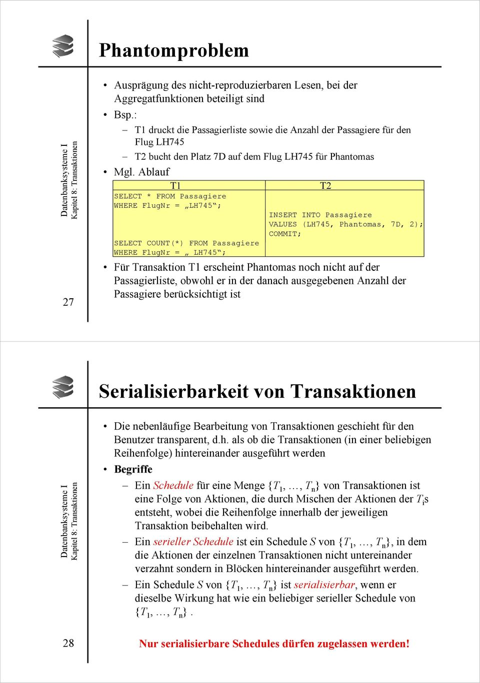 Ablauf T1 SELECT * FROM Passagiere WHERE FlugNr = LH745 ; SELECT COUNT(*) FROM Passagiere WHERE FlugNr = LH745 ; T2 INSERT INTO Passagiere VALUES (LH745, Phantomas, 7D, 2); COMMIT; Für Transaktion T1
