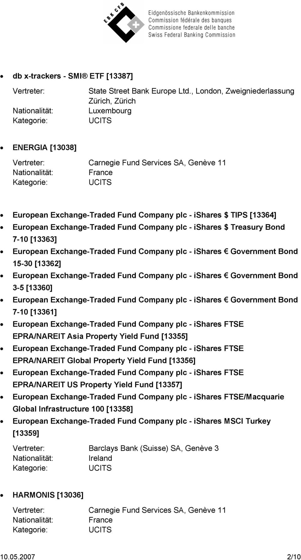 Fund Company plc - ishares $ Treasury Bond 7-10 [13363] European Exchange-Traded Fund Company plc - ishares Government Bond 15-30 [13362] European Exchange-Traded Fund Company plc - ishares
