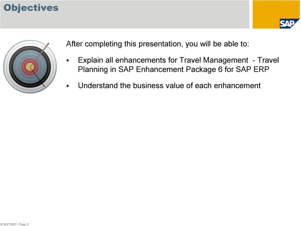 Travel Planning in SAP Enhancement Package 6 for SAP ERP
