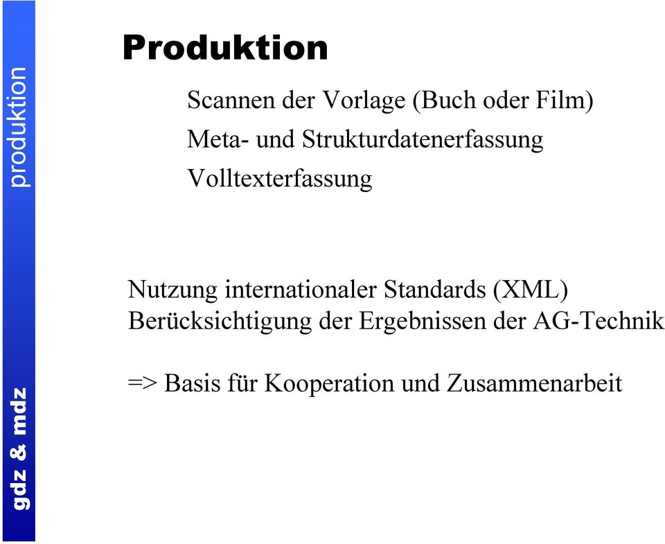 Nutzung internationaler Standards (XML) Berücksichtigung der