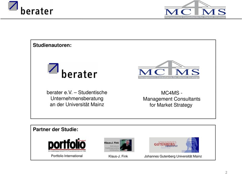 MC4MS - Management Consultants for Market Strategy Partner