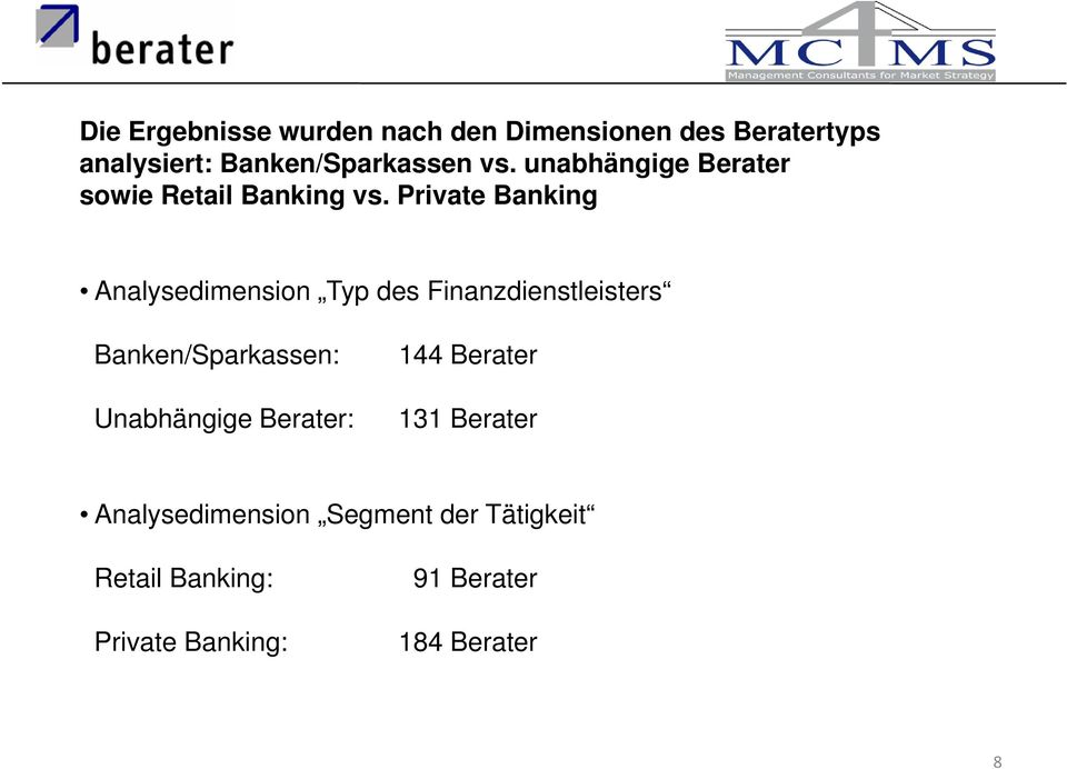 Private Banking Analysedimension Typ des Finanzdienstleisters Banken/Sparkassen: