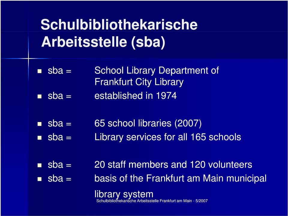 libraries (2007) sba = Library services for all 165 schools sba = sba = 20