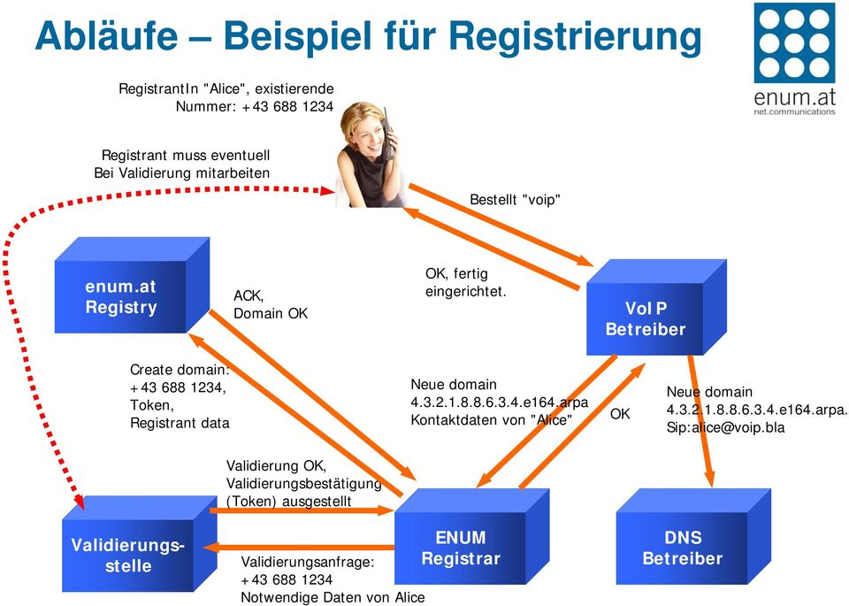 VoIP Betreiber Create domain: +43 688 1234, Token, Registrant data Neue domain 4.3.2.1.8.8.6.3.4.e164.