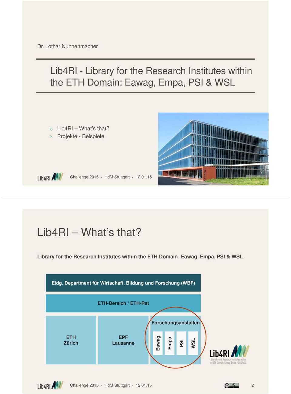 Library for the Research Institutes within the ETH Domain: Eawag, Empa, PSI & WSL Eidg.